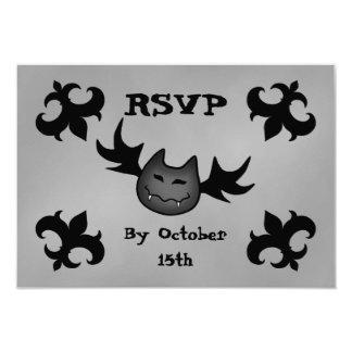 "Cute vampire bat funny Halloween party RSVP 3.5"" X 5"" Invitation Card"