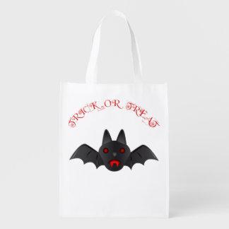 Cute Vampire Bat Trick or Treat Reusable Grocery Bag