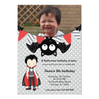 "Cute vampire birthday with a photo 5"" x 7"" invitation card"