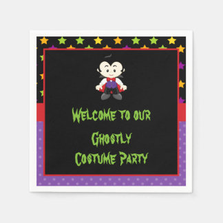 Cute Vampire Boy Halloween Costume Party Disposable Napkins
