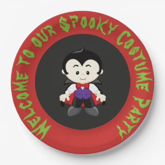 Cute Vampire Boy Halloween Costume Party Paper Plate