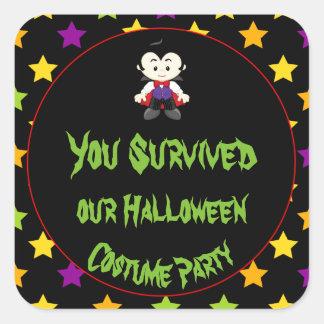 Cute Vampire Boy Halloween Costume Party Square Sticker