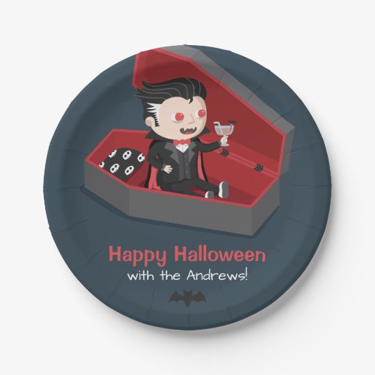 Cute Vampire Boy Halloween Party Supplies 7 Inch Paper Plate