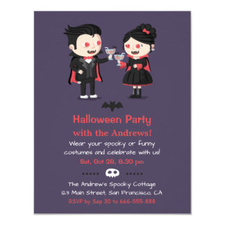 Cute Vampire Couple Halloween Party Invitations