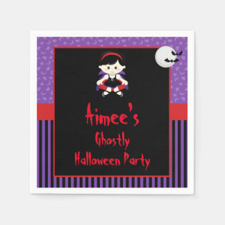 Cute Vampire Girl Halloween Party Paper Napkins