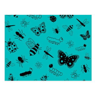 Cute Vector Bugs & Butterflies (Teal Background) Postcard