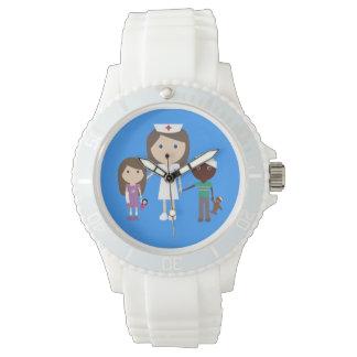 Cute Vector Cartoon Brown Hair Nurse and Children Watch