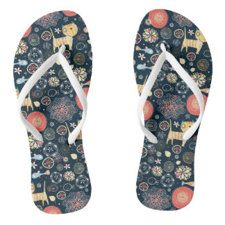 Cute Vector Cat Kitty Daisy Blue Flip Flops