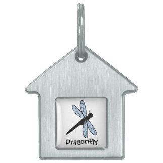 Cute Vector Dragonfly Pet Name Tag