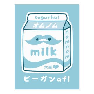 Cute Vegan Soy Milk Carton Postcard