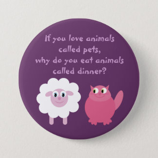 Cute Vegetarian / Animal Rights Customizable 3 Inch Round Button