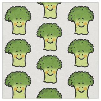 cute veggie broccoli cartoon fabric