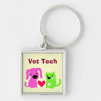 Cute Vet Tech Dog & Cat & Heart Keychain