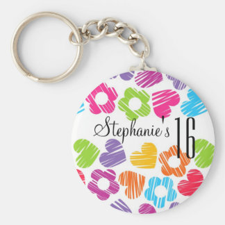 Cute vibrant flowers hearts Sweet Sixteen Keychain