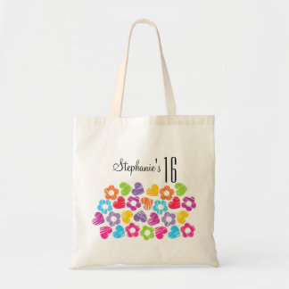 Cute vibrant flowers hearts Sweet Sixteen Necklace Canvas Bags
