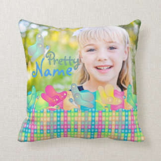 Cute vibrant photo pillow with custom text