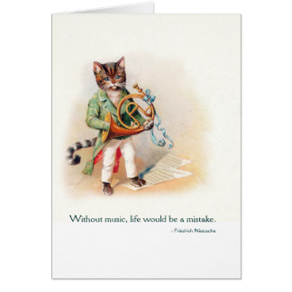 Cute Victorian Cat with French Horn - Vintage Art Card