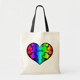 Cute victorian rainbow heart light tote bag