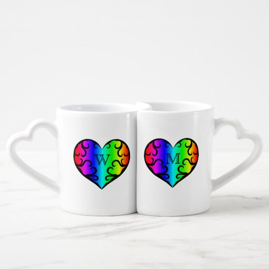 Cute victorian rainbow heart personalized monogram coffee mug set