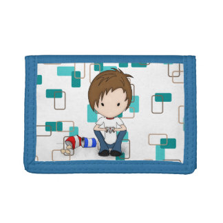 Cute Video Game Playing Emo Boy Cartoon Tri-fold Wallet