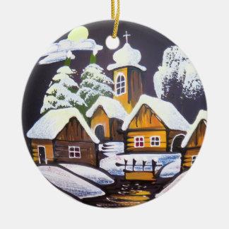 Cute Village Winter Scenery Round Ceramic Ornament