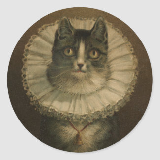 Cute Vintage 19th Century Cat Round Sticker