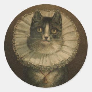 Cute Vintage 19th Century Cat Classic Round Sticker