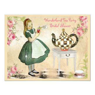 "Cute Vintage Alice in Wonderland Bridal Shower 4.25"" X 5.5"" Invitation Card"