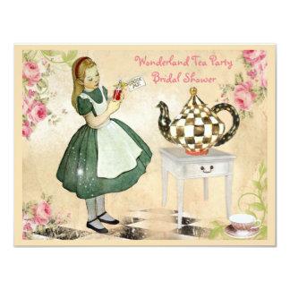 "Cute Vintage Alice in Wonderland Bridal Shower 4.25"" X 5.5"" Invitation Card"