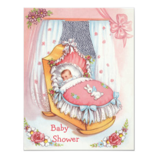 "Cute Vintage Baby Girl in Crib Pink Baby Shower 4.25"" X 5.5"" Invitation Card"