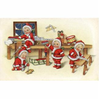 Cute Vintage Baby Santa Illustration Photo Sculpture Magnet