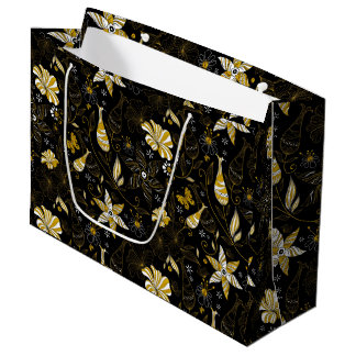Cute vintage black golden floral background large gift bag