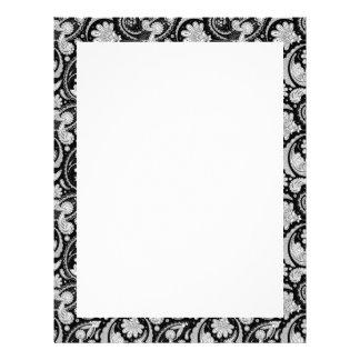 Cute vintage black white paisley patterns letterhead