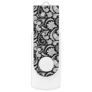 Cute vintage black white paisley patterns USB flash drive