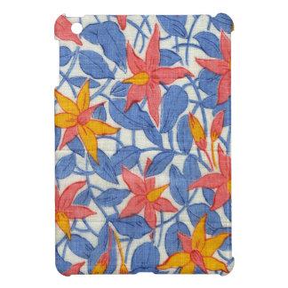 Cute Vintage Blue and Coral Girly Retro Floral iPad Mini Cover