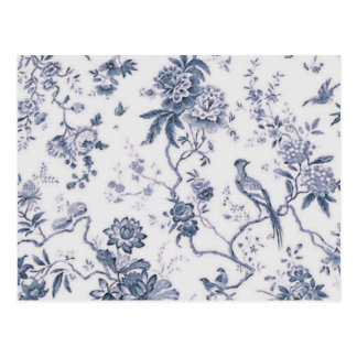Cute Vintage Blue And White Bird Floral Post Cards