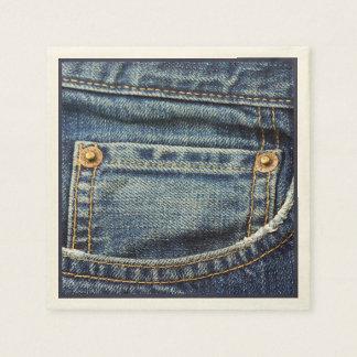Cute Vintage Blue Denim Jeans Pocket Copper Studs Paper Napkins