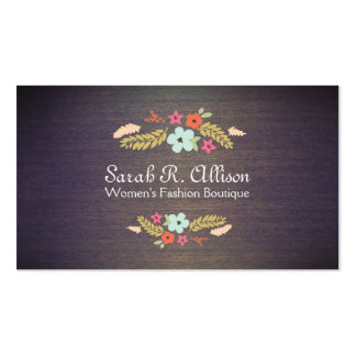 Cute Vintage Boutique Flowers Wood Floral Pack Of Standard Business Cards