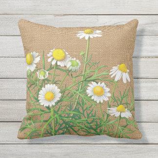 Cute Vintage Camomile Flowers On Faux Jute Burlap Outdoor Pillow