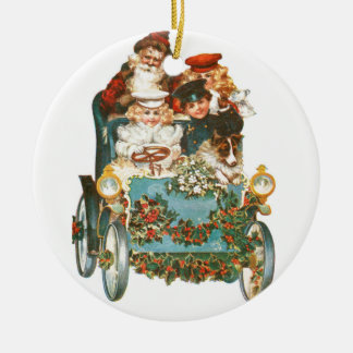 Cute Vintage Car | Santa Claus Christmas Ceramic Ornament