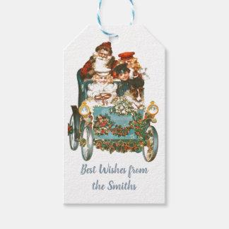 Cute Vintage Car   Santa Claus Christmas Gift Tags