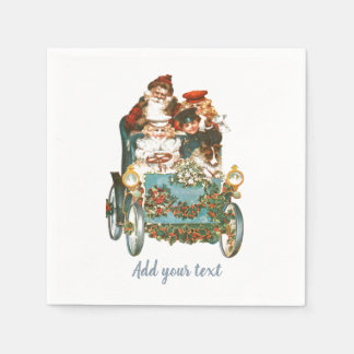 Cute Vintage Car | Santa Claus Christmas Paper Napkin