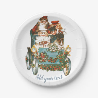 Cute Vintage Car | Santa Claus Christmas Paper Plate
