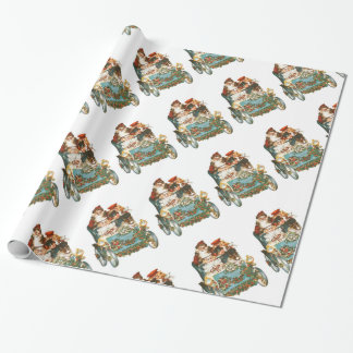Cute Vintage Car | Santa Claus Christmas Wrapping Paper