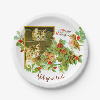 Cute Vintage Car | Santa Claus Chritsmas Paper Plate