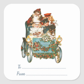 Cute Vintage Car | To From Santa Christmas Gifts Square Sticker