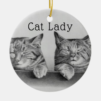 Cute Vintage Cats Funny Cat Lady Ceramic Ornament