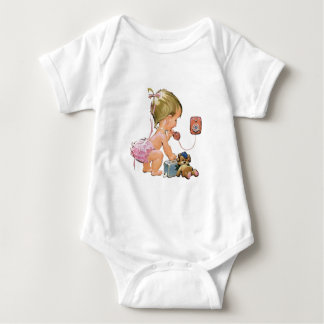Cute Vintage Child on Telephone (Customisable) Baby Bodysuit