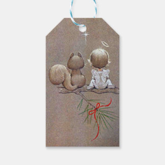 Cute Vintage Christmas Angel and Squirrel Gift Tags