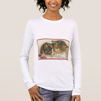 Cute Vintage Christmas Cats Long Sleeve T-Shirt
